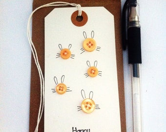 Easter card // bunny rabbits // gift tag shaped card // card and envelope