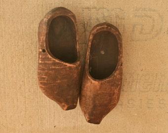 Vintage Antique Hand Carved Wood Shoes Clogs P. Emrich Cincinnati, Ohio Rustic Farmhouse Chic Shabby Chic
