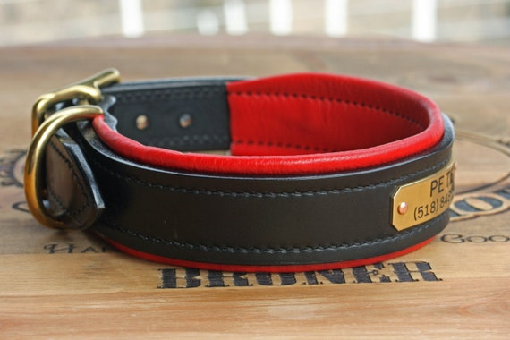 Hill Top Leather, custom-made padded collars with engraved nameplate Il_570xN.514247026_73ru
