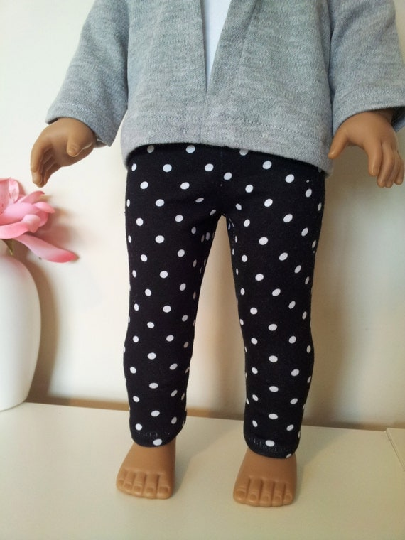 Black with White Polka Dot leggings for American Girl and other 28 inch dolls