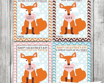 Fox Bible Scripture Cards   Kids Valentines PRINTABLE   Valentine Cards For  Children   School Classroom