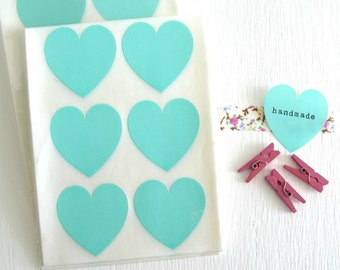 SALE ~ 24 Teal Heart Stickers Heart Envelope Seals 1.5""