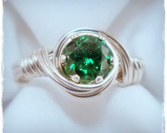 Solitaire Gemstone Birthstone Ring Sterling Silver, Wire Wrapped Ring, Wire Birthstone Ring