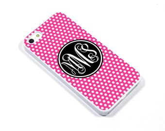 iPhone 5/5s iPhone 5c iPhone 6/6plus Samsung Galaxy S3 S4 S5 iPod touch 4th/5th Gen -  Monogram pink black polka dot spot - p06