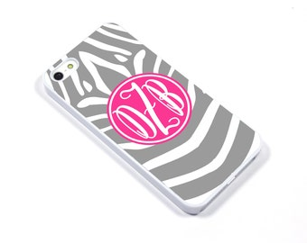 iPhone 5/5s iPhone 5c iPhone 6/6plus Samsung Galaxy S3 S4 S5 iPod touch 4th/5th Gen - Monogram animal zebra print silver fuchsia - p15