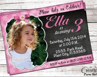 Printable Pink Girls Birthday Invitation Custom Personalized