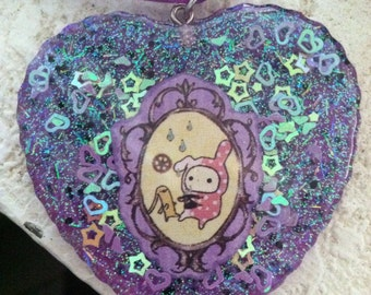 Sentimental Circus Shappo Bunny Rain Resin Charm Necklace Purple