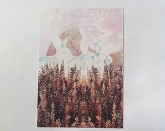 Bunny Daydream // original collage art postcard