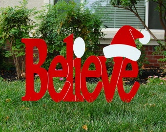Believe in Santa Red Outdoor Christmas Holiday Wood Lawn Decoration