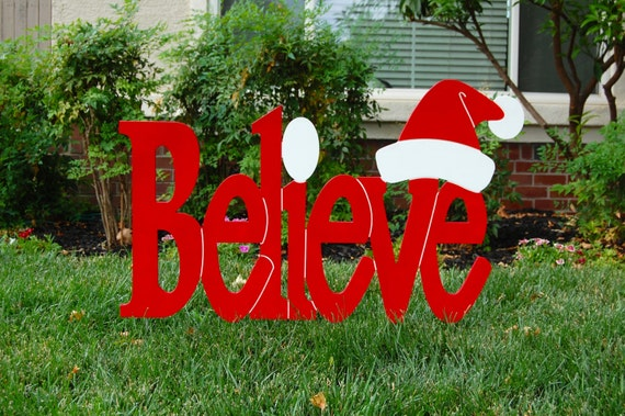 funny santa christmas yard decorations from wood | Believe in Santa Red Outdoor Christmas Holiday Wood Lawn