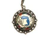 Camel Yoga Pose Necklace Namaste Art Floral Design Henna Mehndi Vintage Style Hand Drawn Handmade Jewelry Happiness Symbolism