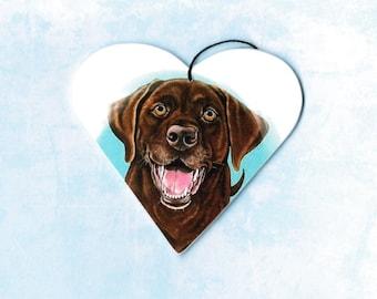 Chocolate Lab - Chocolate Lab Ornament - Chocolate Lab Magnet - Labrador Retriever - Labs - Christmas Ornament - Tree Ornament - Heart