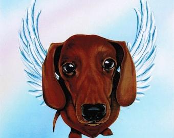 Dachshund - Dachshund Angel - Dachsund Angel - Dachshund Art - Doxies - Dachshunds - Dachsunds - Dog Angel - Pet Memorial - Weeze Mace