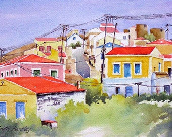 "Original watercolour painting ""Colours of Symi, Greek Isles"""