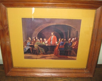 "LAST SUPPER PRINT Framed in Oak 13 3/4"" X 16 3/4"""