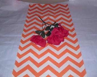 Handmade Table Runner, 13 x 72, Premier Prints Orange/Natural Chevron/Zig Zag, Home Decor