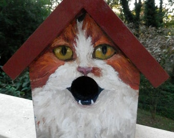 Bird House Hand Painted Custom Orange Cat Design Wood Outdoor