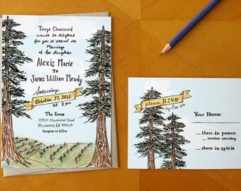 A Northern Romance: Painted Vineyard Wedding Invitation / Deposit