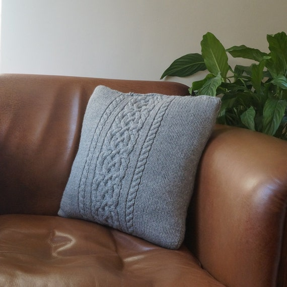 Grey Knit Throw Pillow : Cable knit pillow cover Throw Pillow Light Grey by Lindyknits