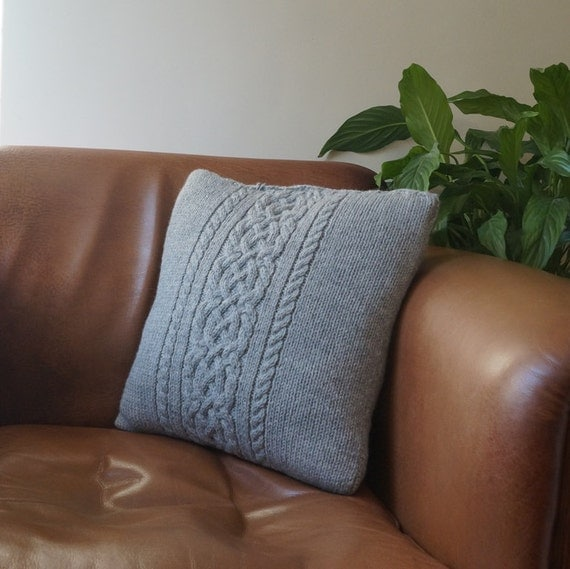 Cable knit pillow cover Throw Pillow Light Grey by Lindyknits