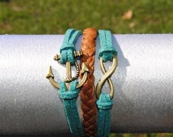 Nautical Turquoise Leather Infinity Anchor Bracelet