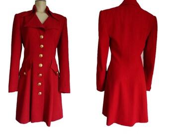 Red Dress Vintage 1980s has a Sweetheart neckAlberto Makali Sz 2 Gold Button front LS High standup collar