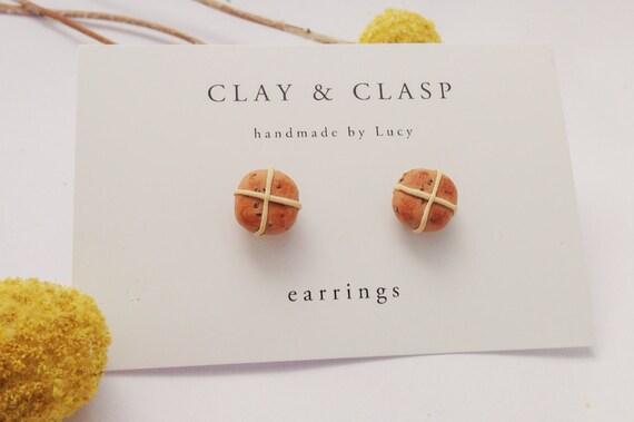 Hot Cross Bun Easter earrings, studs - beautiful handmade polymer clay jewellery by Clay & Clasp
