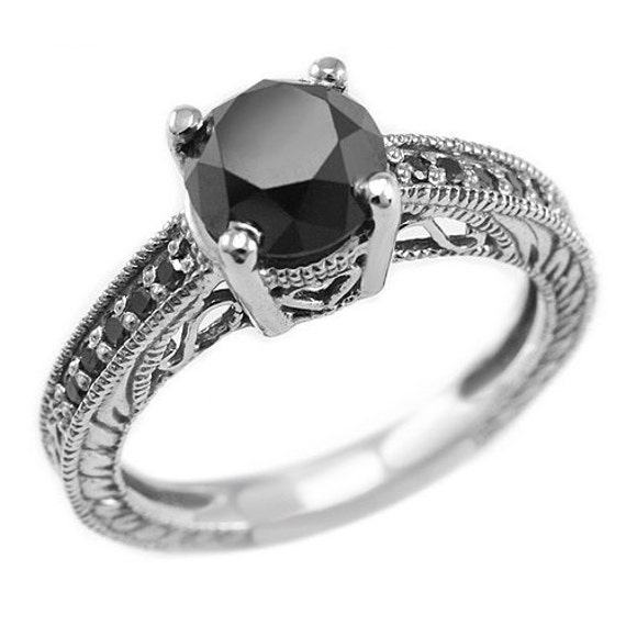 2 45 Carat Round Fancy Black Diamond & Palladium Solid Polished Engagemen
