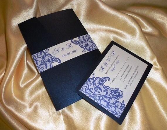 faire part de mariage bleu marine chantillon dentelle bleu marine - Faire Part Mariage Etsy