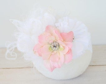 Flower Girl Headband, Pink and White with Rhinestones, Feathers and lace