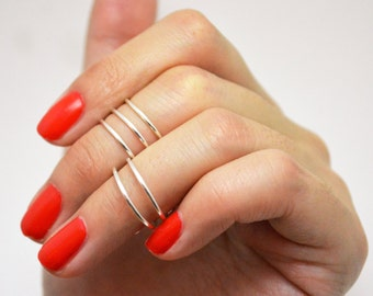 Silver Stacked Above the Knuckle Midi Ring Set (5)