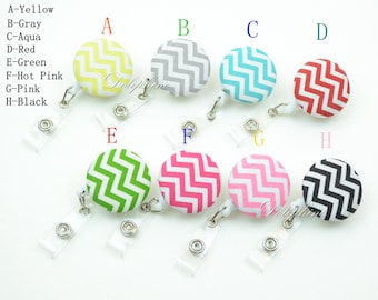Chevron Fabric Badge Reel Retractable ID Badge Holder with Belt Clip