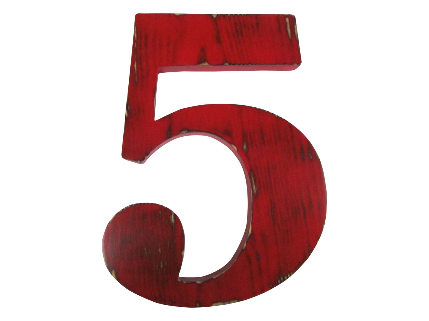 Number 5 in red pine wood sign wall decor kids birthday party for Number 5 decorations