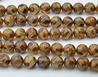"""15""""  Brown Tibetan  Agate dZi  beads  round  bead  --8mm"""