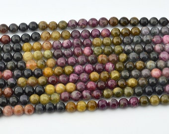 "15.5""  Natural  Tourmaline  Mix Color 6MM Round Bead"