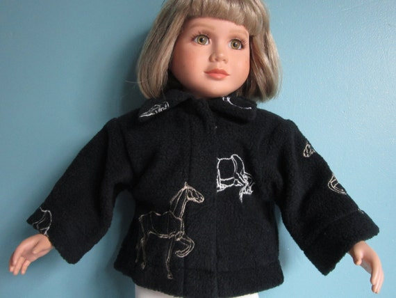 Embroidered black fleece horse jacket fits my twinn nice