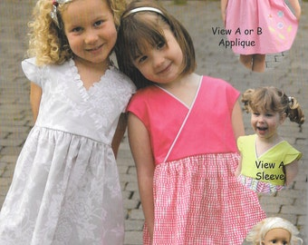 Pattern - X's and O's - Dress & Doll dress Paper Sewing Pattern by Olive Ann Designs (OAD91)