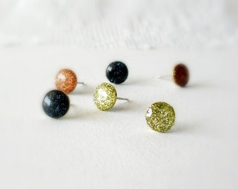 All Mood earrings set- Glitter trio stud earrings- Navy blue, copper and gold- Everyday jewelry