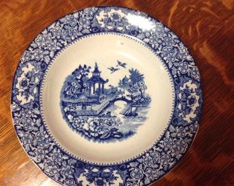 Flow Blue Olde Alton Ware Soup Plate Vintage Gorgeous