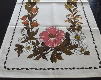 Vintage Natural Linen Table Runner with Printed Flowers