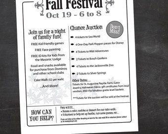 School Fall Festival, Fall Harvest Festival, Event Custom Printable - flyer - color or black and white, PTA Flyer, PTo Flyer