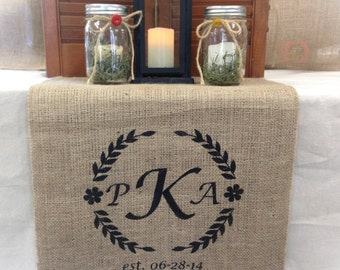 """Burlap Table Runner  12"""", 14"""" or 15"""" wide Monogram with border and est date - longer lengths - Wedding runner Holiday decorating"""
