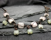 Copper, Leather, and Natural Stone Handmade Necklace