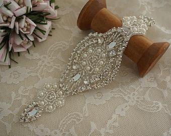 SALE rhinestone applique with pearl, bridal headpiece applique