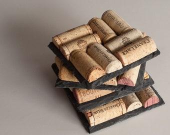Slate wine cork coasters wine cork coasters set of 4 for Wine cork crafts for weddings