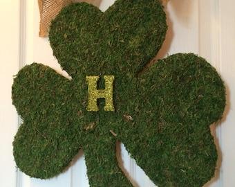 "Expedited NEW XL St Patricks Day Wreath, Lucky Irish Wreath,18""  St Pattys Day Wreath, Moss Shamrock, XL Shamrock Wreath"