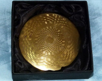 Smart Brass/Goldtone Powder Compact - 1970s