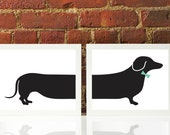 Mint Green Bow with Dachshund Wiener Doxie Dog Oversized Silhouette Print Custom Original Modern Home Office Decor Graphic Poster