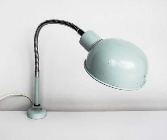 gooseneck clamp table lamp light blue office lamp italian. Black Bedroom Furniture Sets. Home Design Ideas