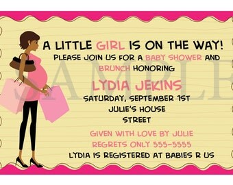 It's a GIRL African American Baby Shower Invitation
